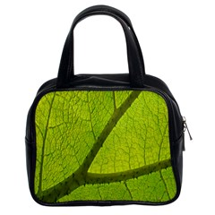 Green Leaf Plant Nature Structure Classic Handbags (2 Sides)