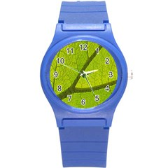 Green Leaf Plant Nature Structure Round Plastic Sport Watch (s)