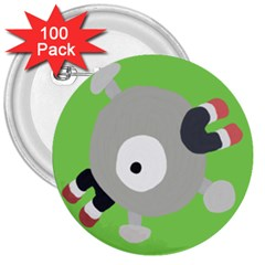 Magnemite (blue) 3  Buttons (100 Pack)