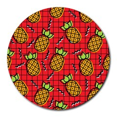 Fruit Pineapple Red Yellow Green Round Mousepads