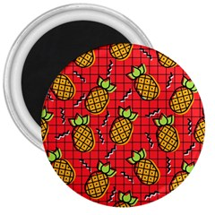 Fruit Pineapple Red Yellow Green 3  Magnets