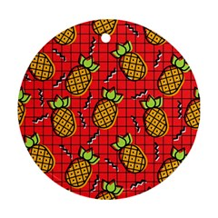 Fruit Pineapple Red Yellow Green Ornament (round)