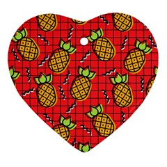 Fruit Pineapple Red Yellow Green Ornament (heart)