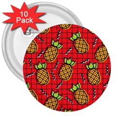 Fruit Pineapple Red Yellow Green 3  Buttons (10 Pack)