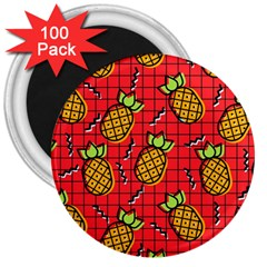 Fruit Pineapple Red Yellow Green 3  Magnets (100 Pack)