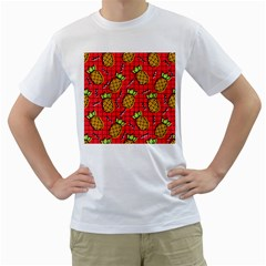 Fruit Pineapple Red Yellow Green Men s T Shirt (white) (two Sided)