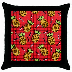 Fruit Pineapple Red Yellow Green Throw Pillow Case (black)