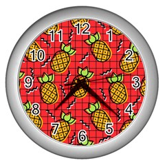 Fruit Pineapple Red Yellow Green Wall Clocks (silver)
