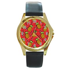 Fruit Pineapple Red Yellow Green Round Gold Metal Watch
