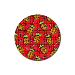 Fruit Pineapple Red Yellow Green Rubber Round Coaster (4 Pack)