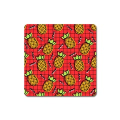 Fruit Pineapple Red Yellow Green Square Magnet