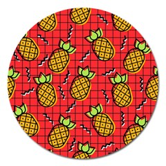 Fruit Pineapple Red Yellow Green Magnet 5  (round)