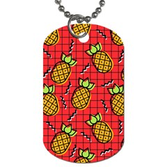 Fruit Pineapple Red Yellow Green Dog Tag (one Side)