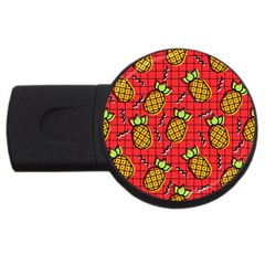 Fruit Pineapple Red Yellow Green Usb Flash Drive Round (2 Gb)
