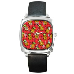 Fruit Pineapple Red Yellow Green Square Metal Watch