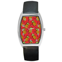 Fruit Pineapple Red Yellow Green Barrel Style Metal Watch