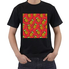 Fruit Pineapple Red Yellow Green Men s T Shirt (black) (two Sided)