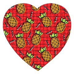 Fruit Pineapple Red Yellow Green Jigsaw Puzzle (heart)