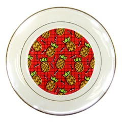 Fruit Pineapple Red Yellow Green Porcelain Plates