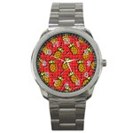 Fruit Pineapple Red Yellow Green Sport Metal Watch Front