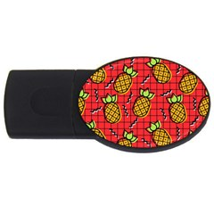 Fruit Pineapple Red Yellow Green Usb Flash Drive Oval (4 Gb)