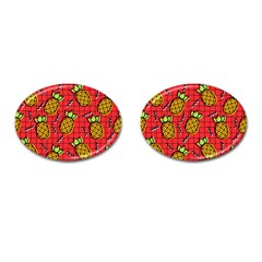 Fruit Pineapple Red Yellow Green Cufflinks (oval)