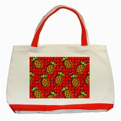 Fruit Pineapple Red Yellow Green Classic Tote Bag (red)
