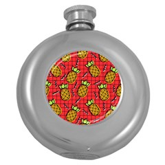 Fruit Pineapple Red Yellow Green Round Hip Flask (5 Oz)