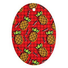 Fruit Pineapple Red Yellow Green Oval Ornament (two Sides)