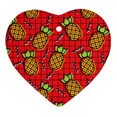 Fruit Pineapple Red Yellow Green Heart Ornament (two Sides)