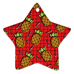 Fruit Pineapple Red Yellow Green Star Ornament (two Sides)