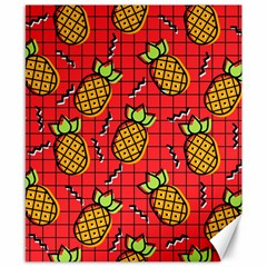 Fruit Pineapple Red Yellow Green Canvas 8  X 10