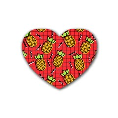 Fruit Pineapple Red Yellow Green Rubber Coaster (heart)
