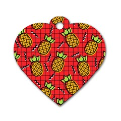 Fruit Pineapple Red Yellow Green Dog Tag Heart (one Side)