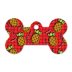 Fruit Pineapple Red Yellow Green Dog Tag Bone (one Side)