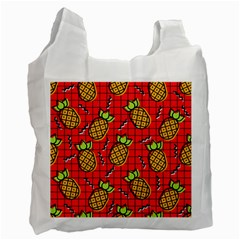 Fruit Pineapple Red Yellow Green Recycle Bag (one Side)