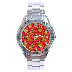 Fruit Pineapple Red Yellow Green Stainless Steel Analogue Watch