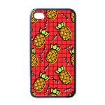 Fruit Pineapple Red Yellow Green Apple iPhone 4 Case (Black) Front