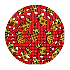 Fruit Pineapple Red Yellow Green Ornament (round Filigree)