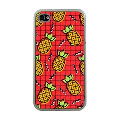 Fruit Pineapple Red Yellow Green Apple Iphone 4 Case (clear)