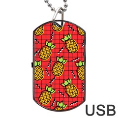 Fruit Pineapple Red Yellow Green Dog Tag Usb Flash (two Sides)