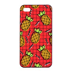 Fruit Pineapple Red Yellow Green Apple Iphone 4/4s Seamless Case (black)
