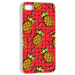 Fruit Pineapple Red Yellow Green Apple Iphone 4/4s Seamless Case (white)
