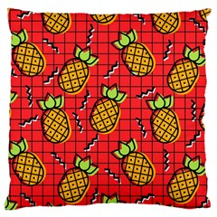Fruit Pineapple Red Yellow Green Large Cushion Case (one Side)