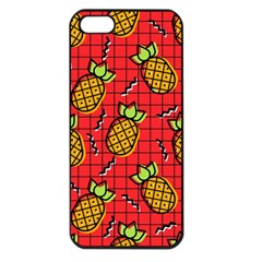 Fruit Pineapple Red Yellow Green Apple Iphone 5 Seamless Case (black)