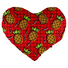 Fruit Pineapple Red Yellow Green Large 19  Premium Heart Shape Cushions