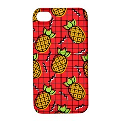Fruit Pineapple Red Yellow Green Apple Iphone 4/4s Hardshell Case With Stand