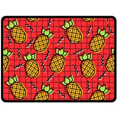 Fruit Pineapple Red Yellow Green Double Sided Fleece Blanket (large)