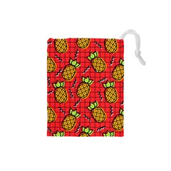 Fruit Pineapple Red Yellow Green Drawstring Pouches (small)