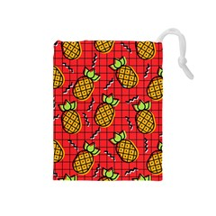 Fruit Pineapple Red Yellow Green Drawstring Pouches (medium)